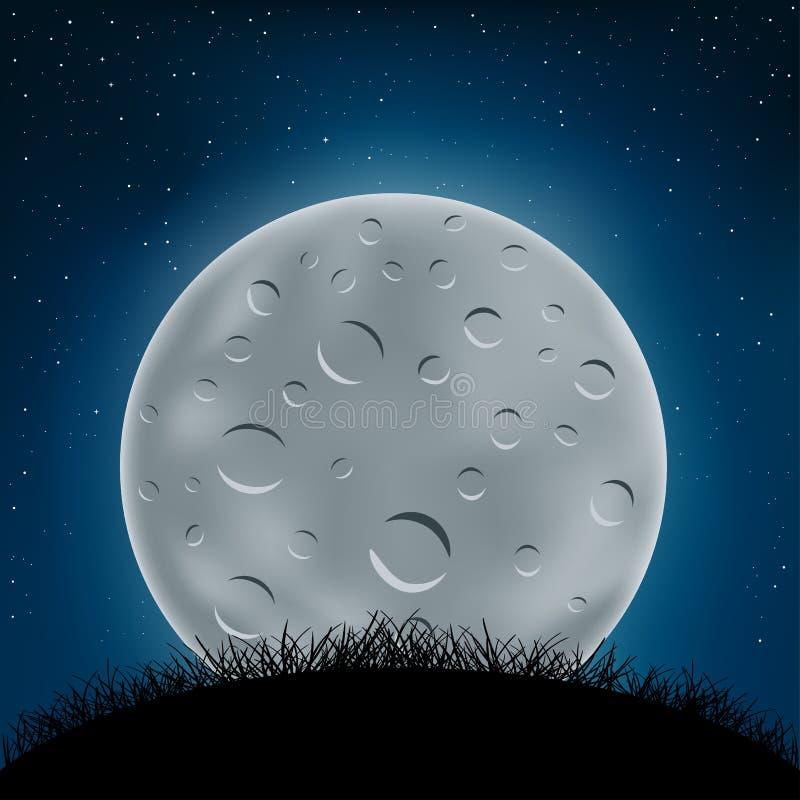De heuvel en de maan van het nachtgras stock illustratie