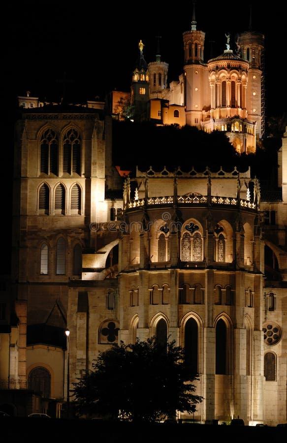De Heuvel van Fourviere (Lyon, Frankrijk) stock foto's