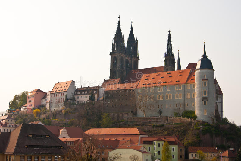 De heuvel van het kasteel van Meissen in Duitsland royalty-vrije stock fotografie