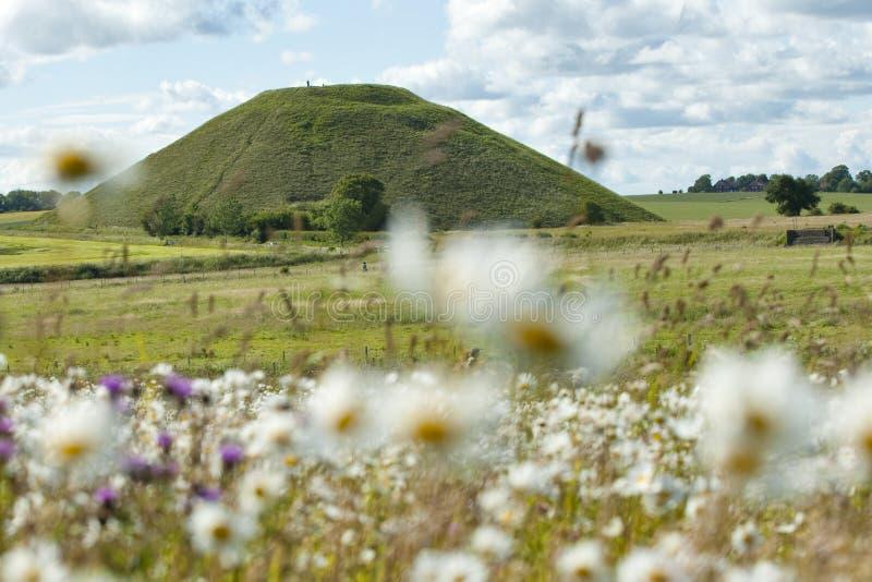 De Heuvel van Silbury, Avebury, Engeland stock foto's