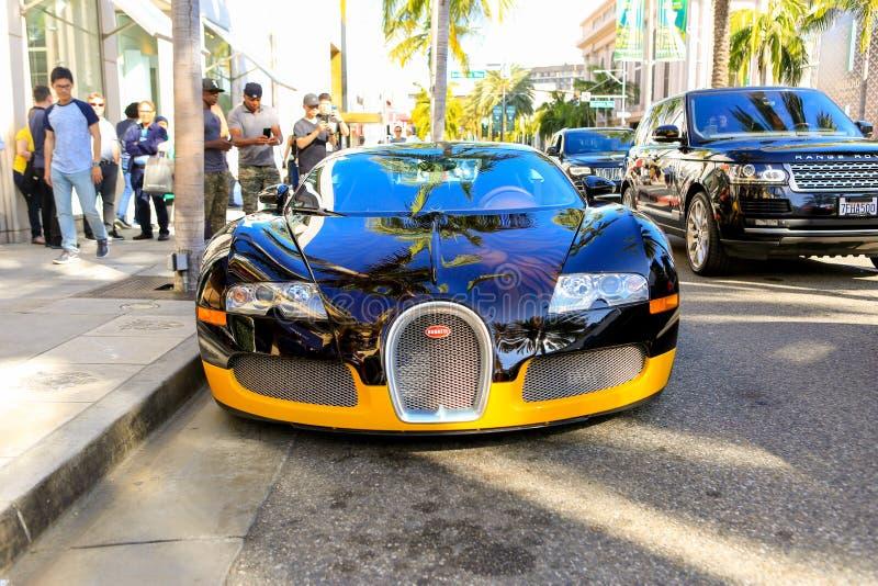 DE HEUVELS VAN BEVERLY, CA - JUNI 10, 2017: Bijanï¿ ½ s douane Bugatti royalty-vrije stock afbeelding