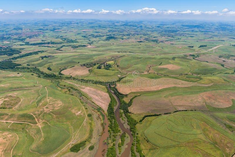 De Heuvels van het Suikerriet van het Landschap van de lucht   royalty-vrije stock foto's