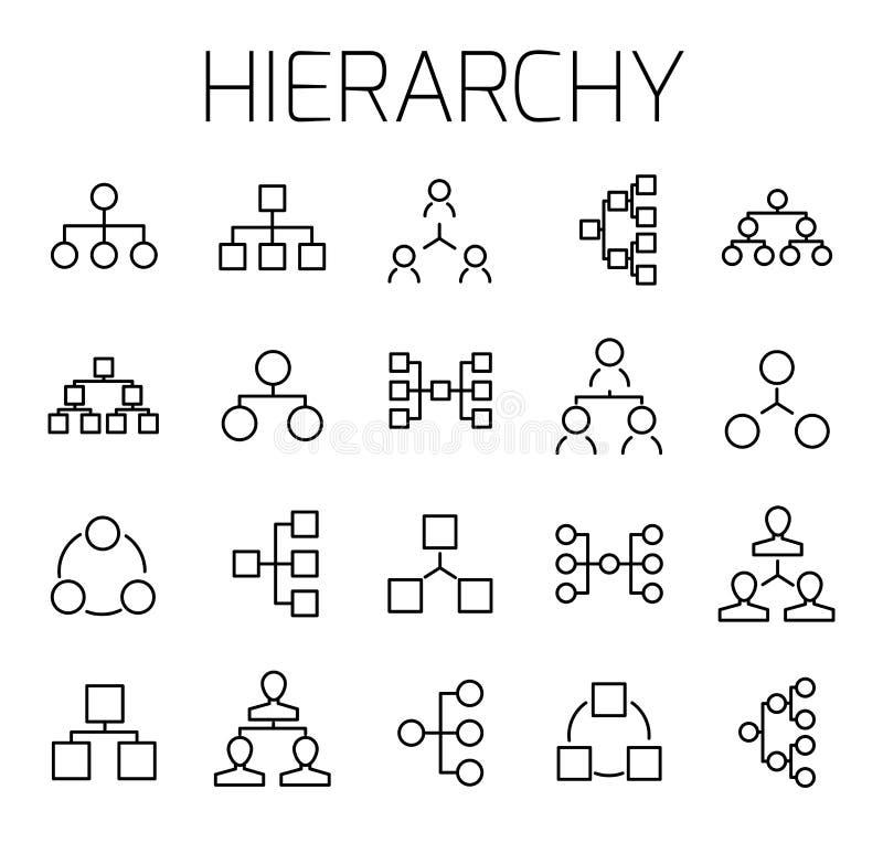 De hiërarchie bracht vectorpictogramreeks met elkaar in verband stock illustratie