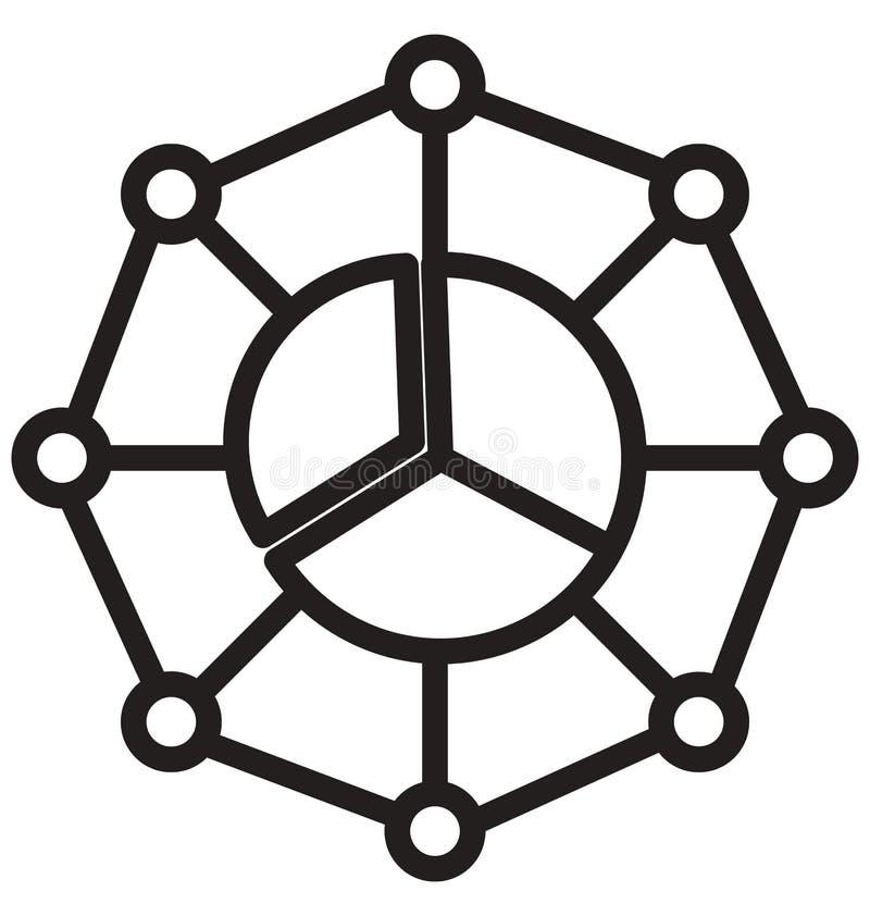 De hiërarchie van de pasteigrafiek, cirkeldiagramlijn geïsoleerd vectorpictogram kan gemakkelijk worden gewijzigd en uitgeven vector illustratie