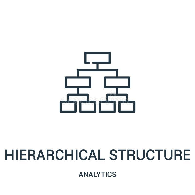 de hiërarchische vector van het structuurpictogram van analyticsinzameling De dunne van het het overzichtspictogram van de lijn h vector illustratie