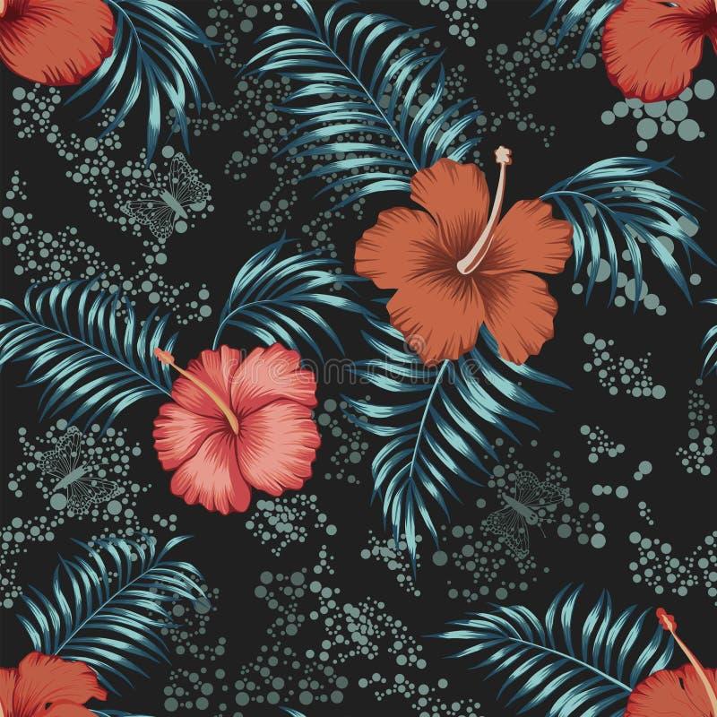 De hibiscus verlaat naadloze verspreide cirkelsachtergrond stock illustratie