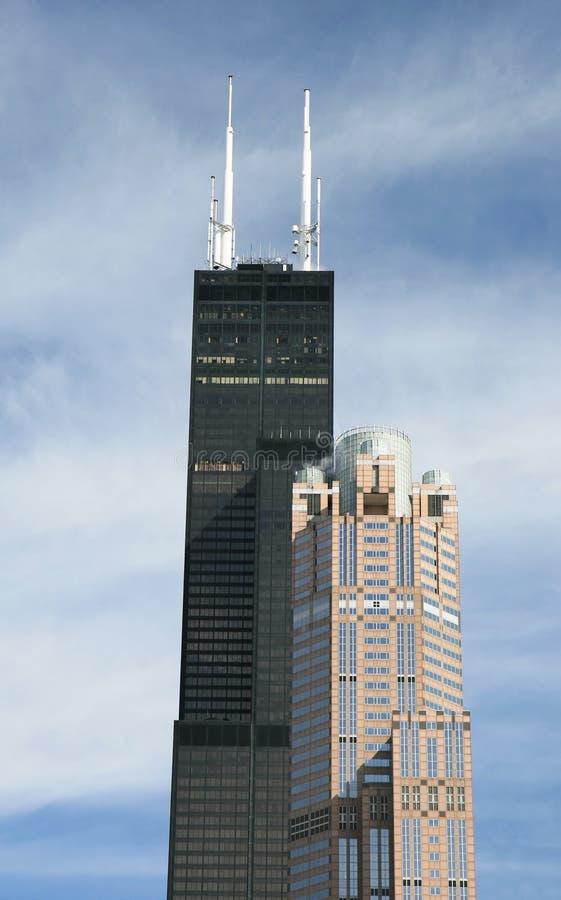 De high-rise gebouwen in Chicago stock foto's