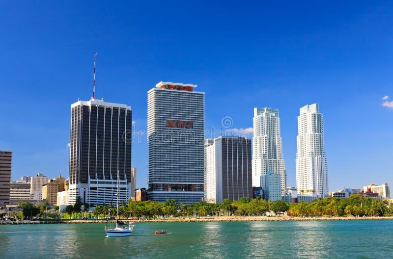 De high-rise gebouwen in Miami van de binnenstad stock foto
