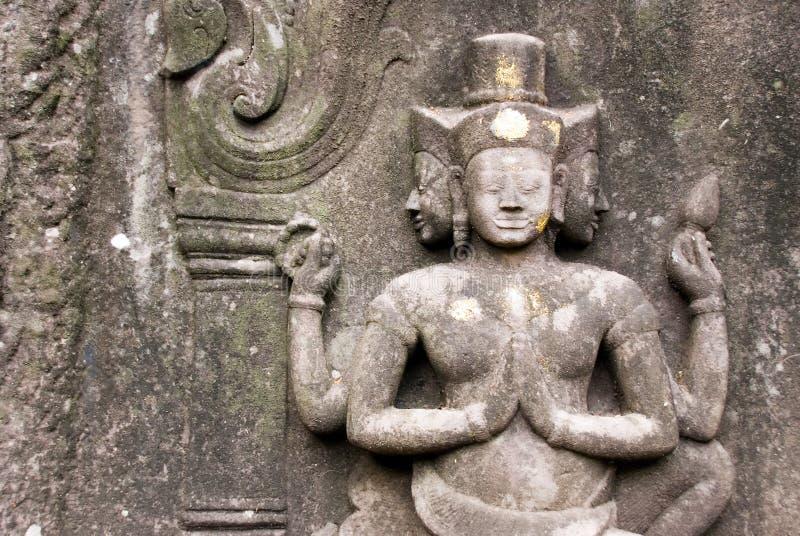 De Hindoese gravure van de tempelmuur stock foto's
