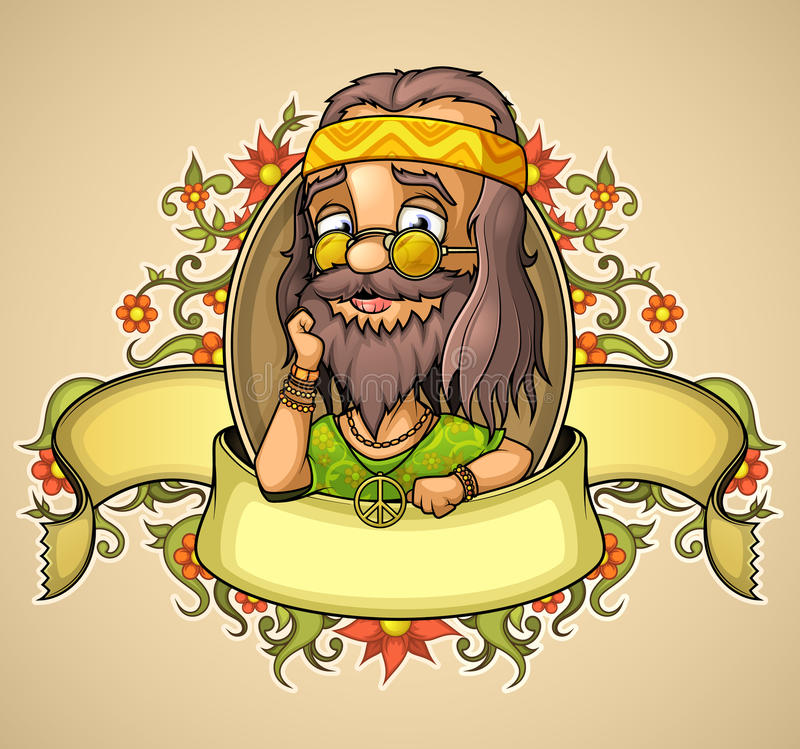 De hippie van de etiketvriendelijkheid stock illustratie