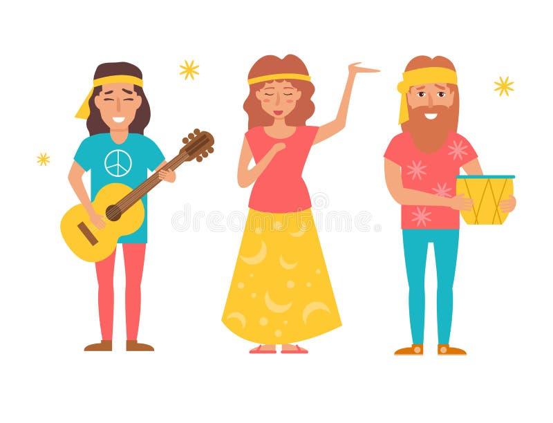 De hippie van de muziekband Vector Cartoo vector illustratie
