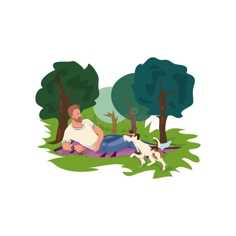 De Hipstermens is rust in groen stadspark met zijn hond vector illustratie