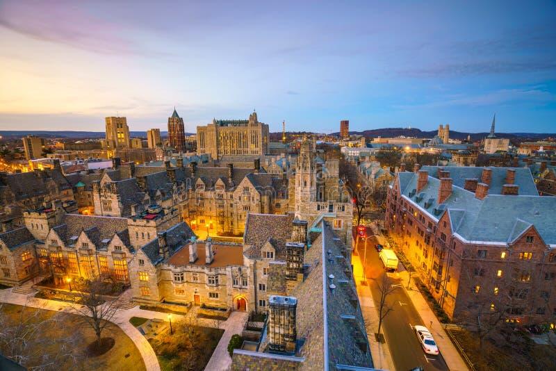 De historische bouw en de universitaire campus van Yale stock fotografie