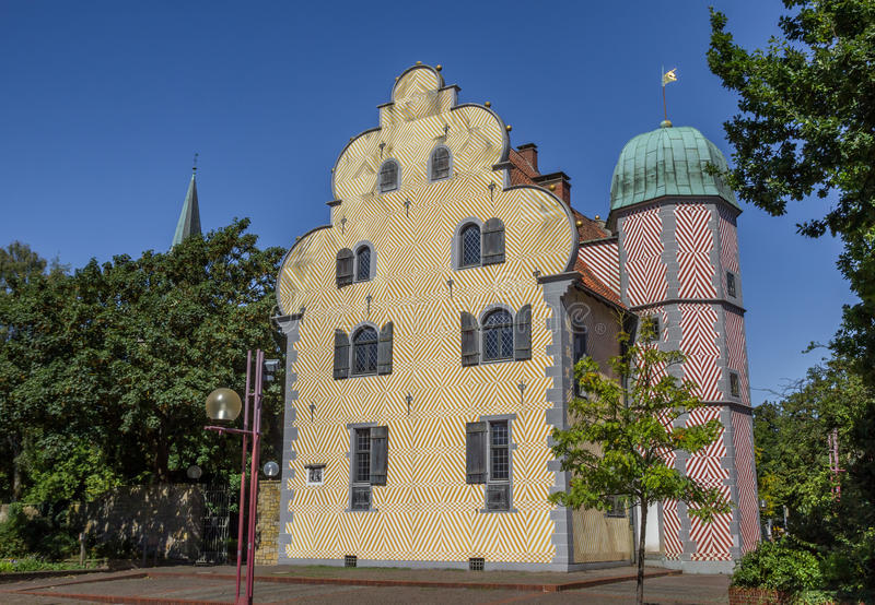 De historische bouw Ledenhof in het centrum van Osnabrück stock afbeeldingen