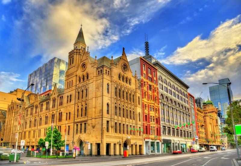 De historische bouw in Melbourne op Flinders-Straat - Australië royalty-vrije stock fotografie