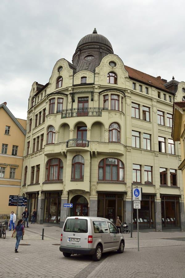 De historische bouw op Frauenplan-straat in Weimar royalty-vrije stock foto