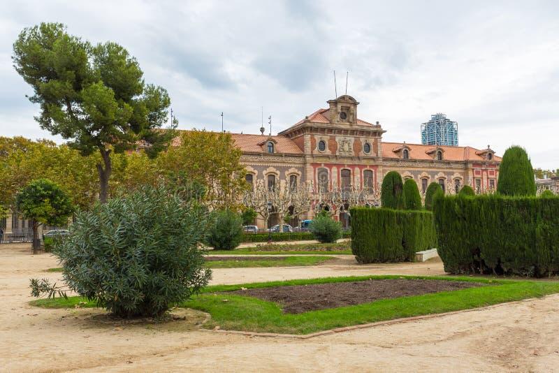 De historische bouw in Parc DE La Ciutadela, Barcelona, Spanje royalty-vrije stock afbeelding