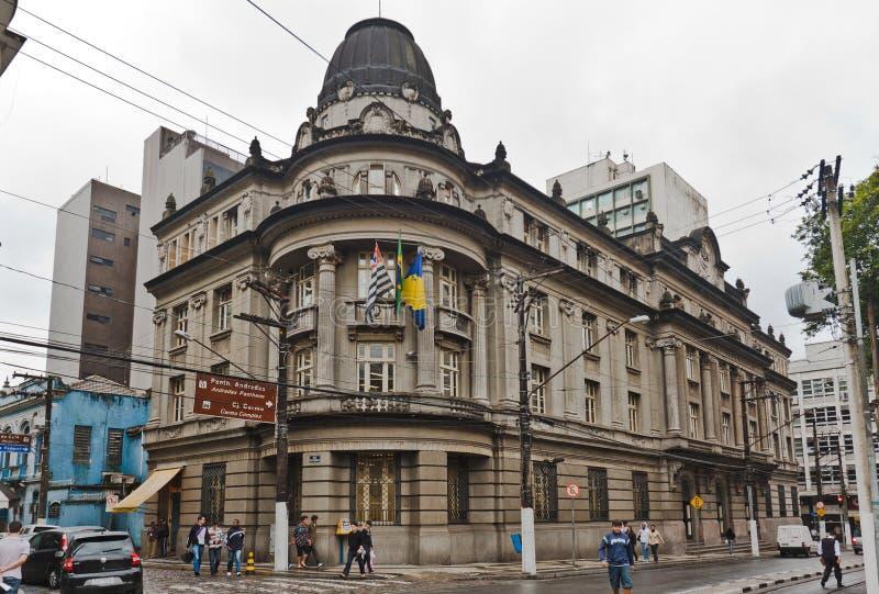 De historische Bouw in Santos stock afbeeldingen