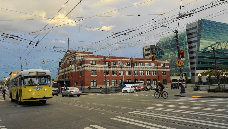 De historische bouw van Koning Street Station in Seattle, WA, de V.S. stock afbeeldingen