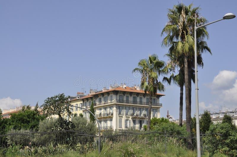De historische Bouw van de stad in van Nice op Kooi D 'Azur in Frankrijk stock afbeelding