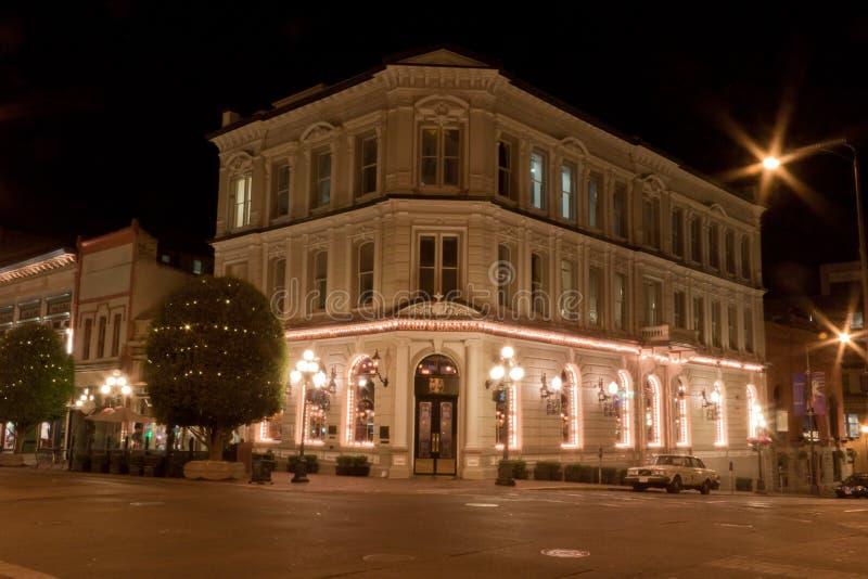 De historische Bouw in Vitoria bij nacht stock afbeeldingen