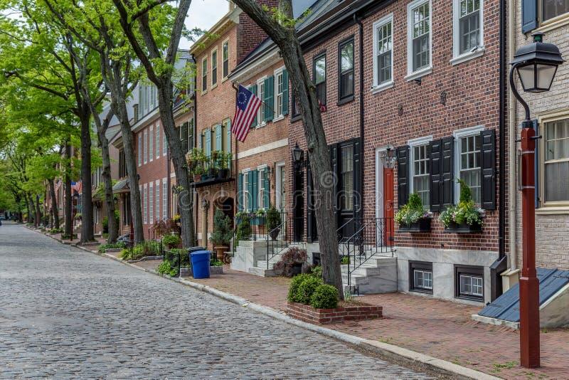 De historische buurt van de de maatschappijheuvel van Philadelphia royalty-vrije stock foto