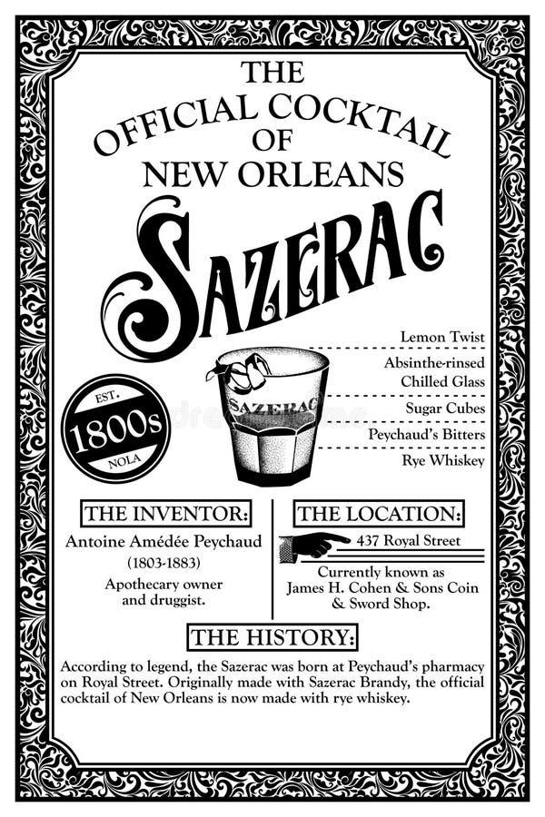 De historische Cocktail Infographic van New Orleans royalty-vrije illustratie
