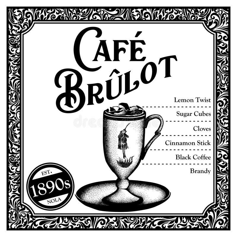 De historische Cocktail van New Orleans de Koffie Brulot vector illustratie