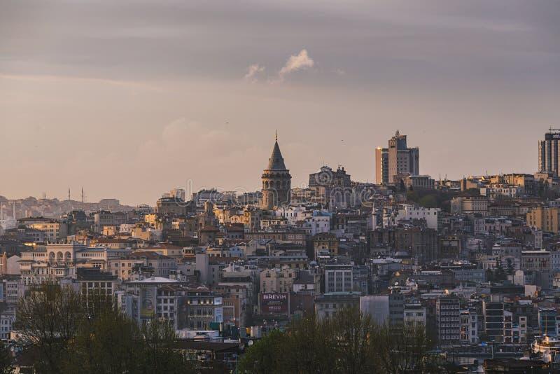 De historische Galata-Toren, Istanboel, Turkije stock afbeelding