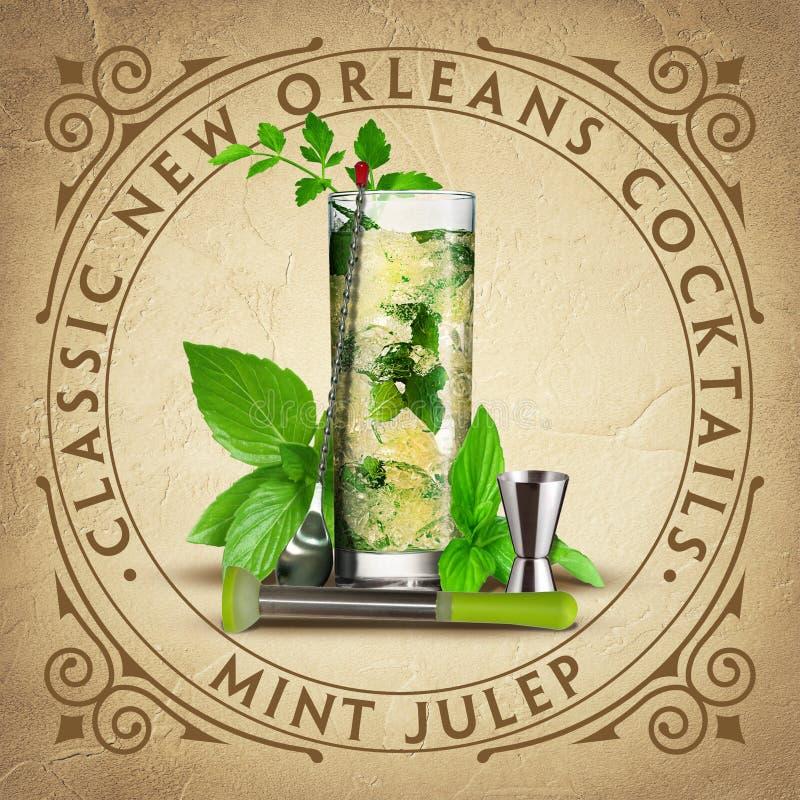 De historische Iconische Klassieke Cocktails van New Orleans stock illustratie