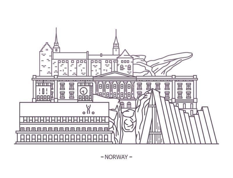 De historische oriëntatiepunten van Noorwegen royalty-vrije illustratie
