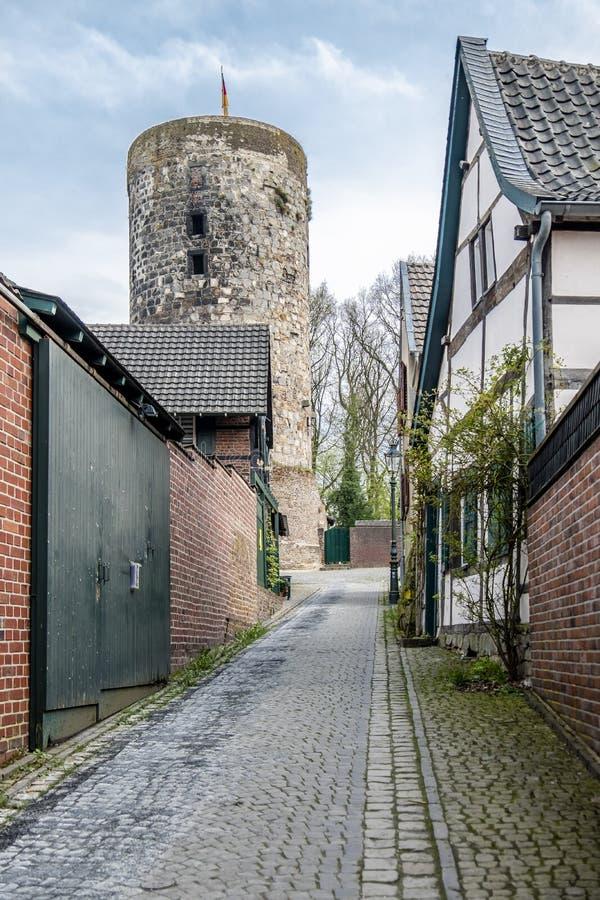 De historische oude stad Liedberg in NRW, Duitsland royalty-vrije stock afbeeldingen