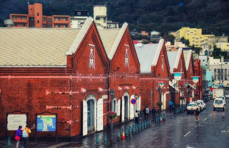 De Historische Pakhuizen van Hakodate, Japan stock afbeeldingen