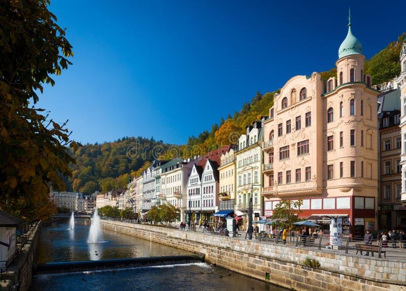 De historische stad van Carlsbad is één van de beroemdste kuuroordsteden in Europa stock foto