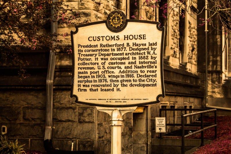 De historische teller Nashville van het douanehuis stock afbeelding
