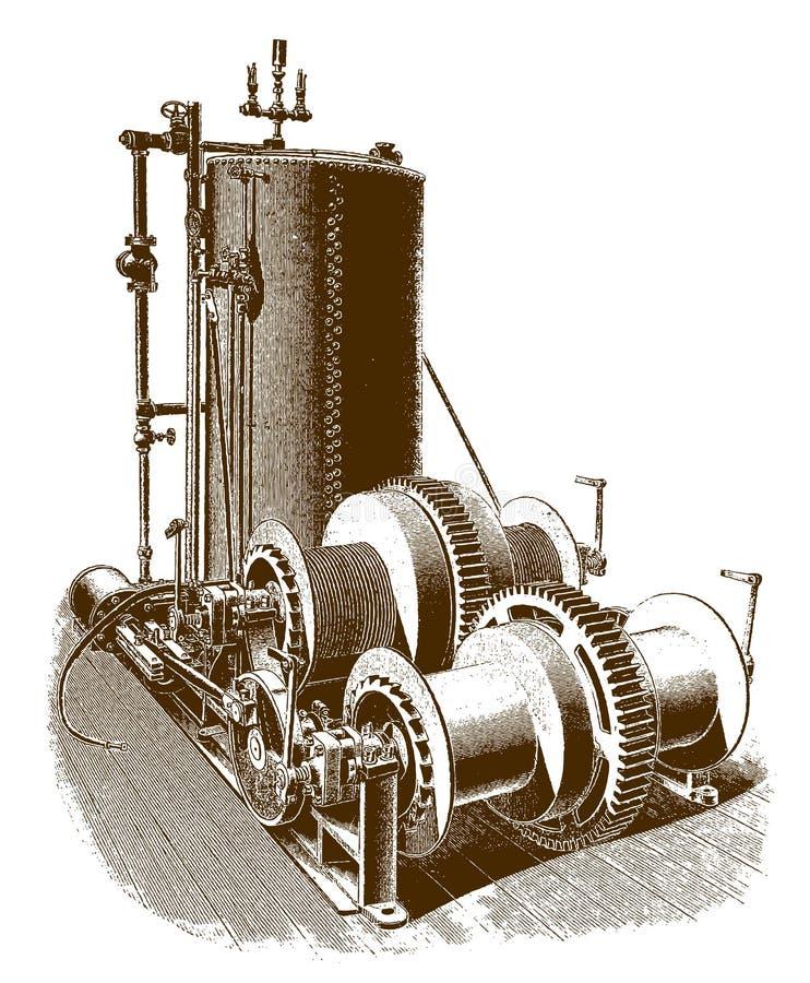 De historische trommel die van de dubbel-cilinder viervoudige wrijving motor hijsen royalty-vrije illustratie