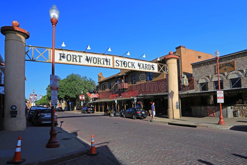 De historiska materielgårdarna i i stadens centrum Fort Worth Texas royaltyfri foto