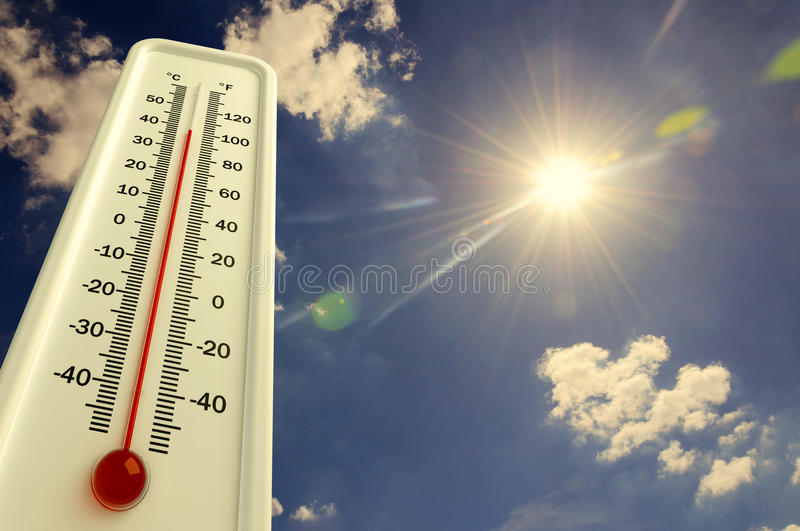 De hitte, thermometer toont de temperatuur in de hemel, de Zomer heet is stock illustratie