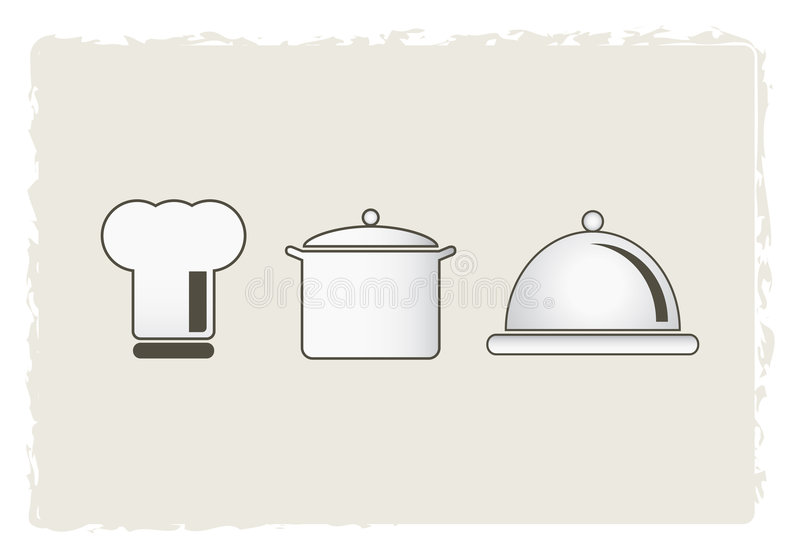 De hoed, de pot en de braadpan van de chef-kok stock illustratie