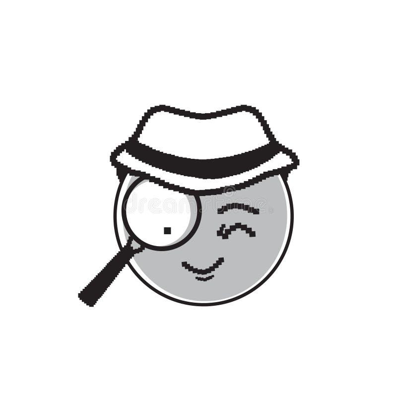 De Hoed die van detectivecartoon face wear Gelukkig de Emotiepictogram verdenken van Glimlachmensen vector illustratie