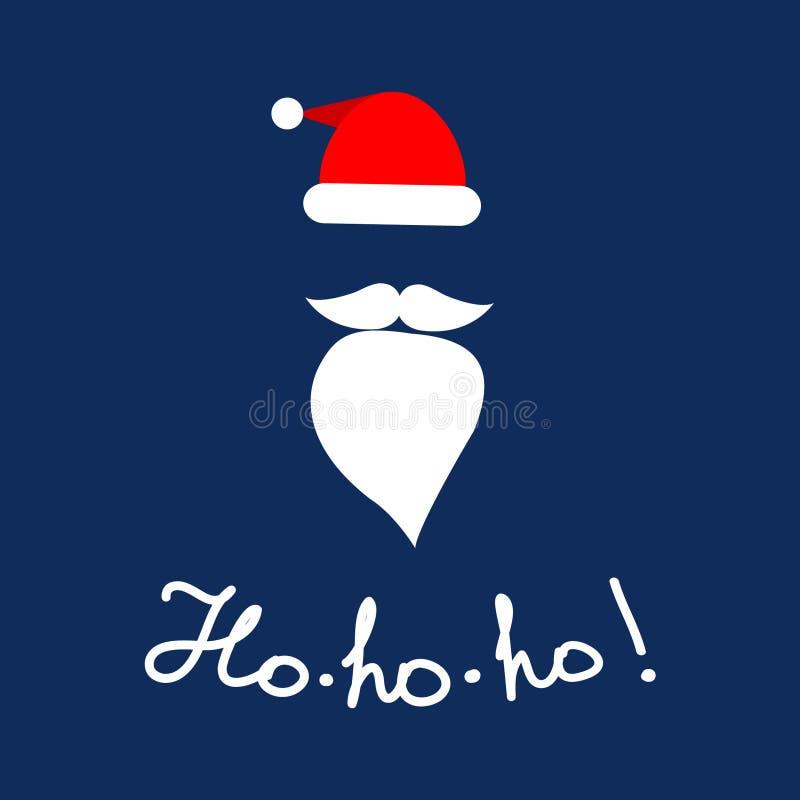 De hoed en de baard van de Web Vectorkerstman met het van letters voorzien 'Ho -ho! 'voor de decoratie van de vakantiepartij Vlak stock illustratie