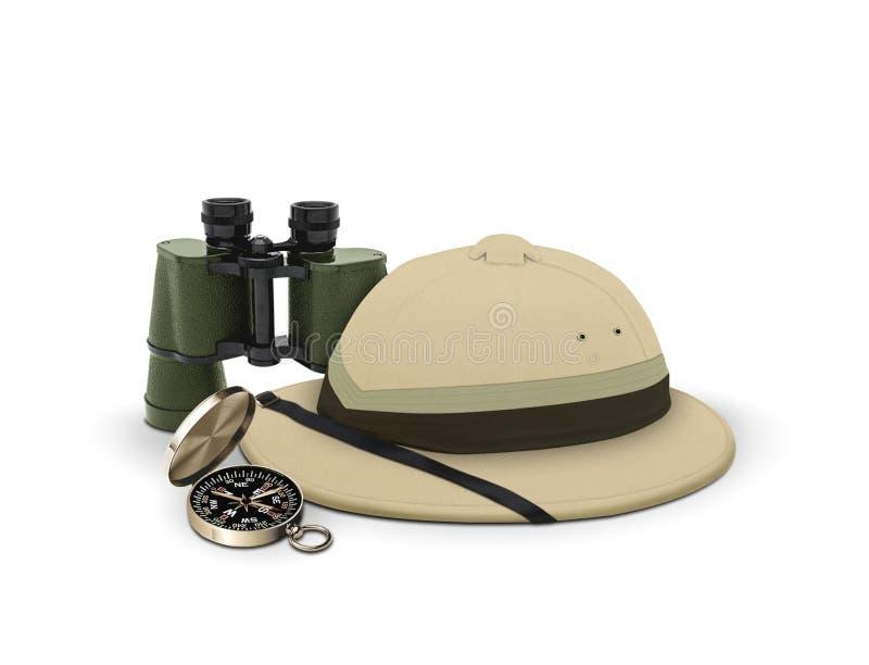 De hoed en de apparatuur van de ontdekkingsreiziger royalty-vrije illustratie