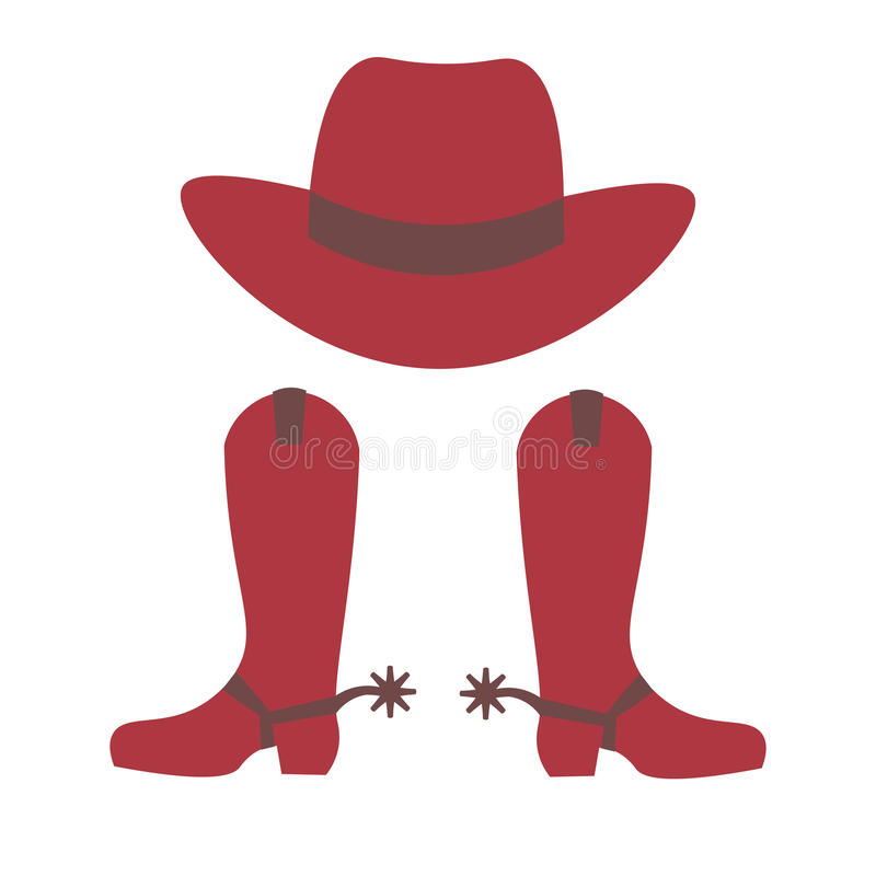 De hoed en de laarzen van de cowboy vector illustratie