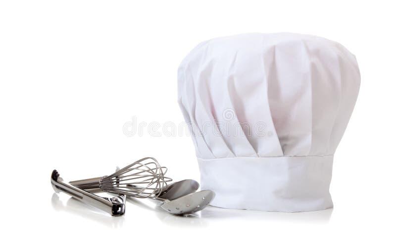 De Hoed en de werktuigen van de chef-kok royalty-vrije stock afbeeldingen