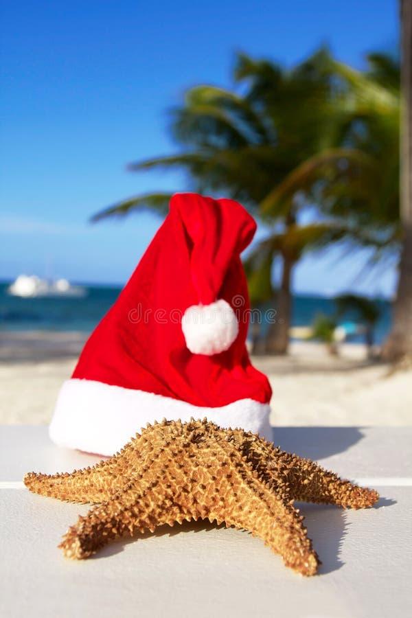 De hoed en de zeester van de kerstman op strand royalty-vrije stock foto