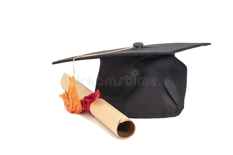 De hoed en het diploma van de graduatie royalty-vrije stock foto's