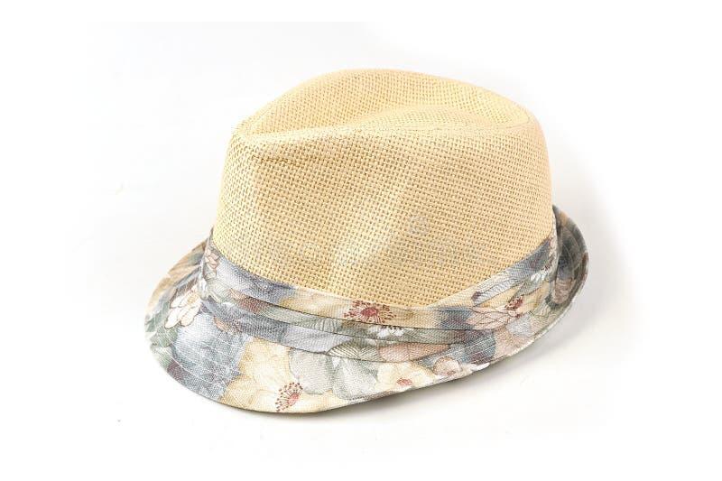 De hoed van beige mensen op een wit geïsoleerde achtergrond stock fotografie