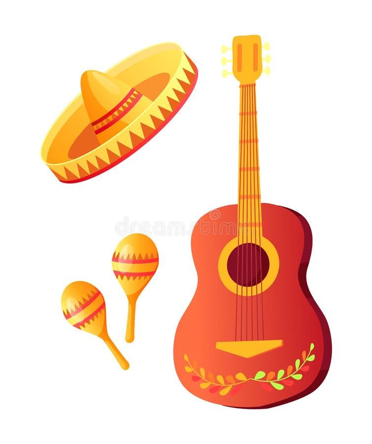 De Hoed van Cinco de Mayo Acoustic Guitar en van de Sombrero royalty-vrije illustratie