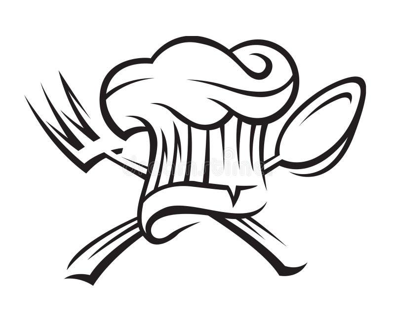 De hoed van de chef-kok met lepel en vork royalty-vrije illustratie