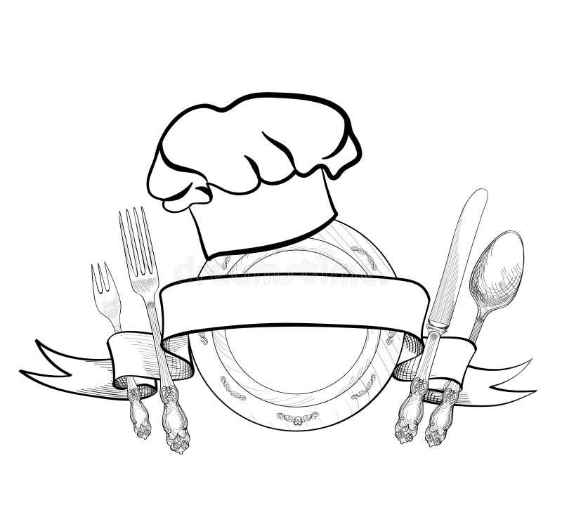 De hoed van de chef-kokkok met vork, lepel en messenschetsetiket royalty-vrije illustratie